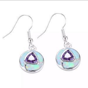 Sterling Silver Amethyst Opal Earrings